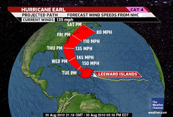 projected hurricane path