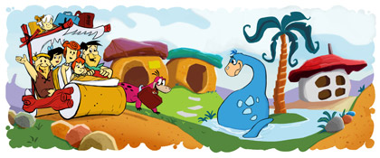 Google new Logo marking the 50th Anniversary of 'The Flintstones'
