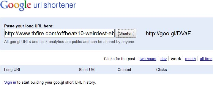 Google's URL Shortener service Goo.gl