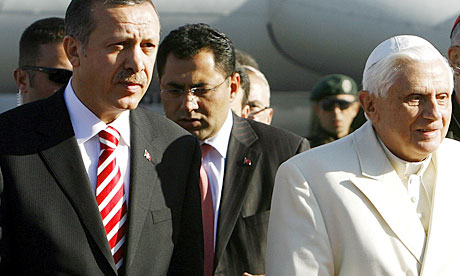 A WikiLeaks cable reports that Pope Benedict XVI, seen here being received by Turkish prime minister Recep Tayyip Erdogan in Ankara in 2006, 'might prefer to see Turkey develop a special relationship short of EU membership'.