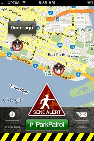 ParkPatrol in action, a screenshot of the App.
