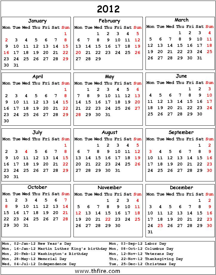 2012 Calendar! | Thfire.com