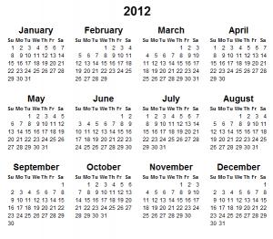 2012 Calendar printable | Thfire.com