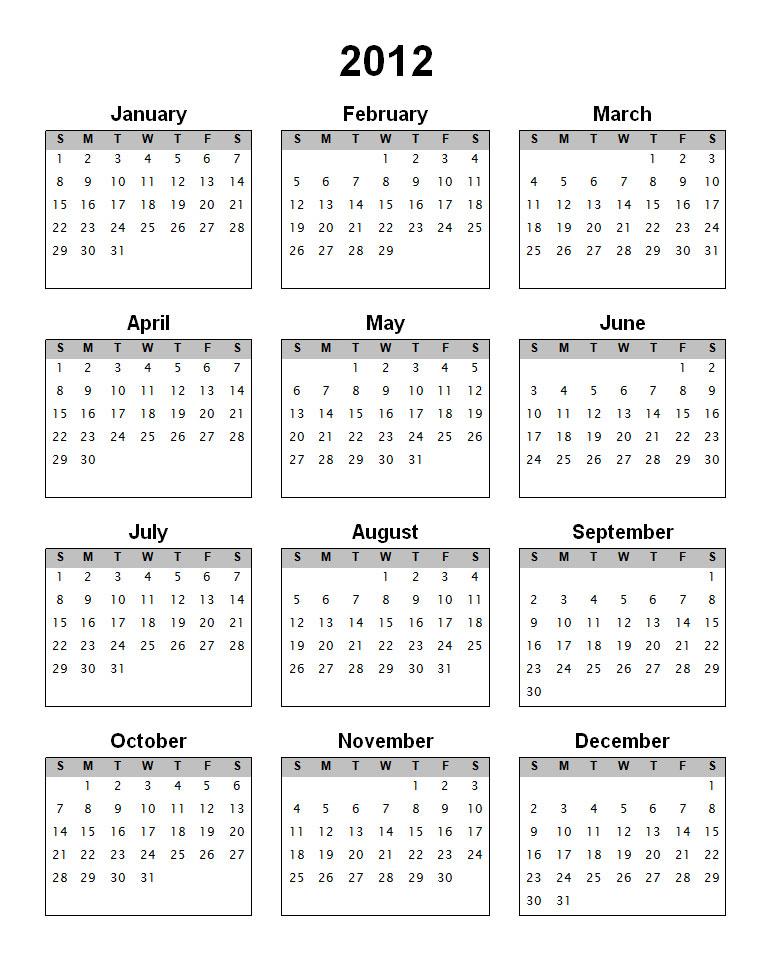 one year calender
