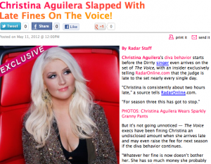 Christina Aguilera Fined For Being Late On The Voice image