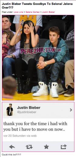 Justin bieber splits with Selena Gomez