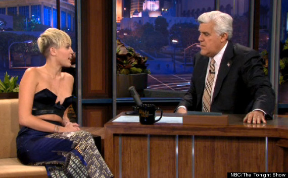 MILEY CYRUS almost-topless on Jay Leno The Tonight Show