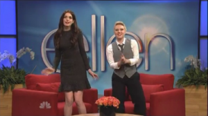 "WATCH: Anne Hathaway Does Katie Holmes Impression in SNL ""Ellen"" Parody"