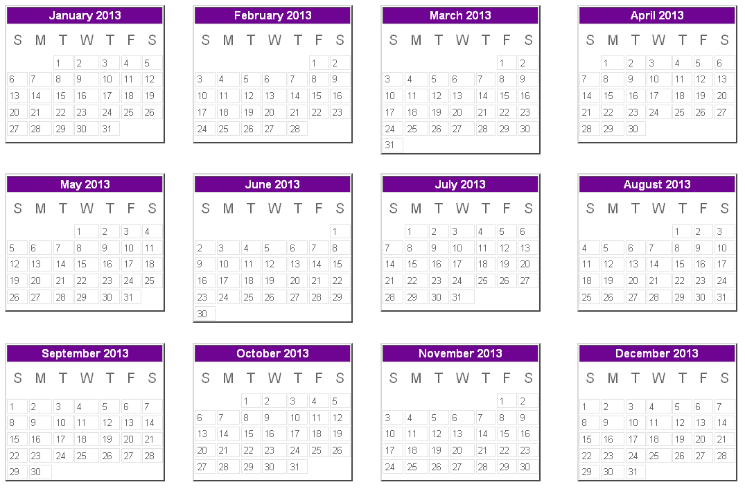 2013 Yearly Calender