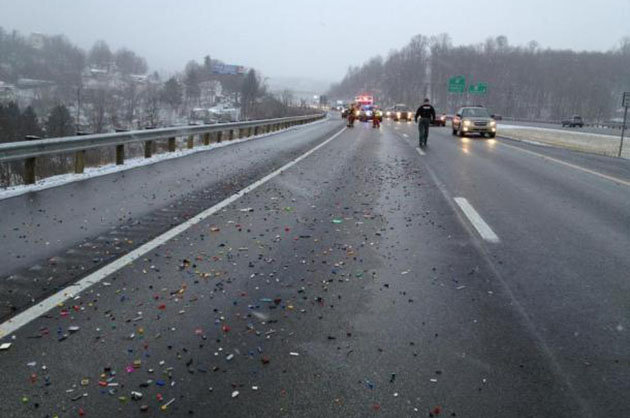 legos spill on highway