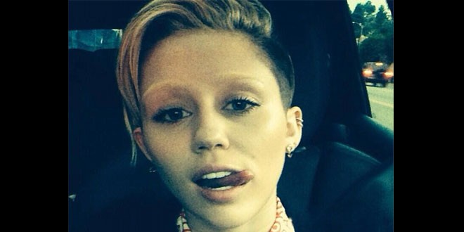 What on earth has Miley Cyrus done to her eyebrows??