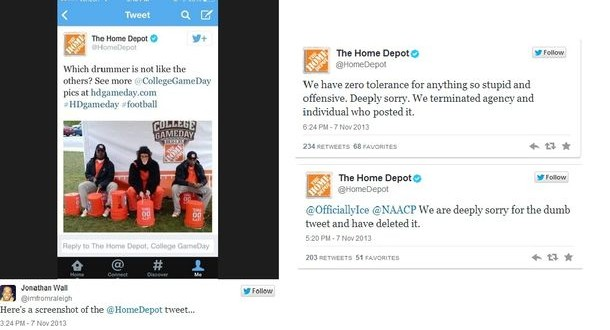 Home Depot Apology For Racist Tweet