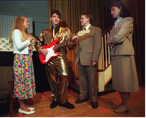 "Swift shows off her theatre talents with her ""Bye Bye Birdie"" co-stars in 2001 in her hometown of Wyomissing, Penn."