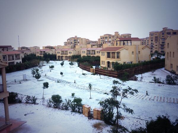Snow fall in Cairo, Egypt for the first time in more than 100 years.
