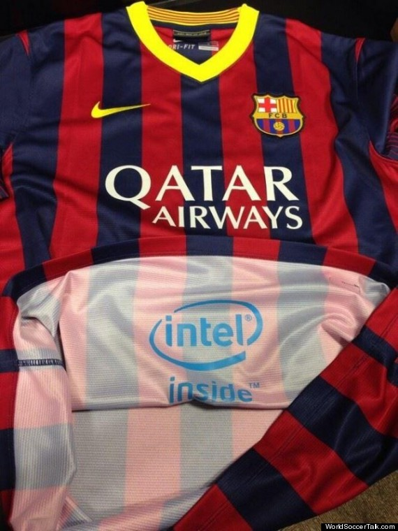 Intel's ad inside Barcelona's Jerseys.