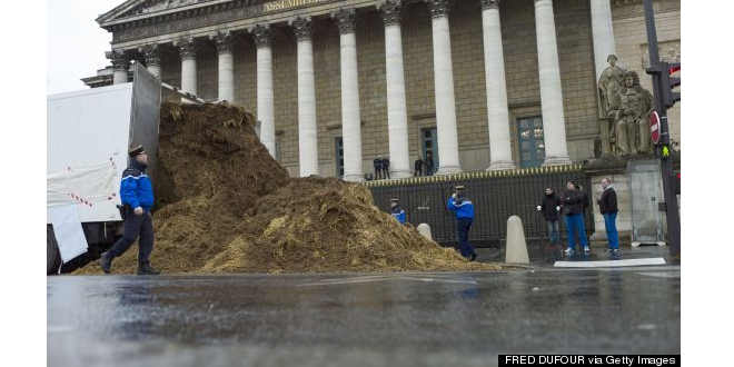 Man Dumps Animal Excrement Outside French Parliament in Protest!