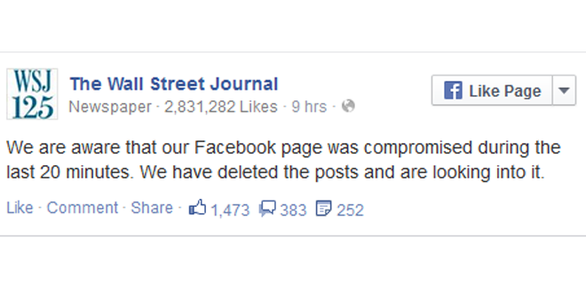 Wall Street Journal Facebook Page Hacked!